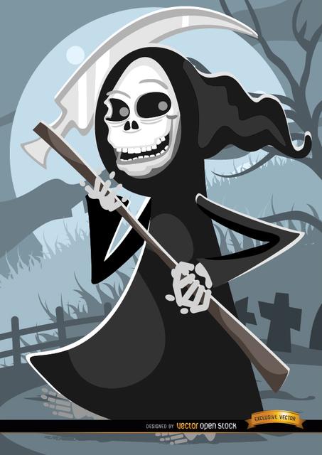 Free Cartoon grim reaper graveyard