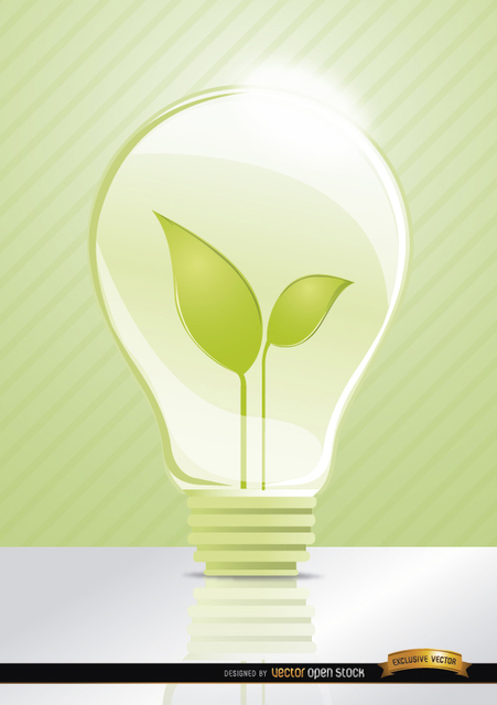Free Ecologic idea Light bulb leaves