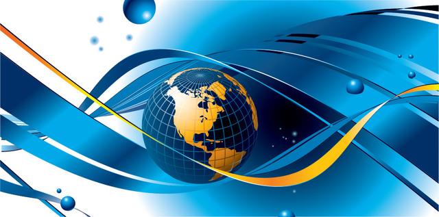 Free Waving Lines with Globe Blue Business Background