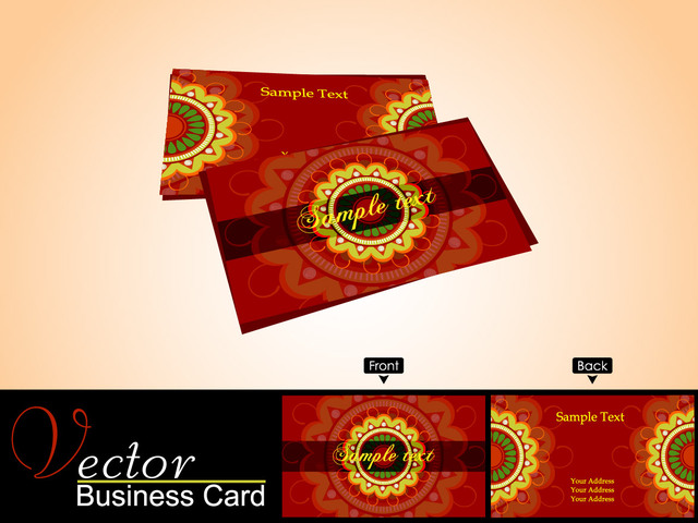Free Red Business Card with Yellow Ornament