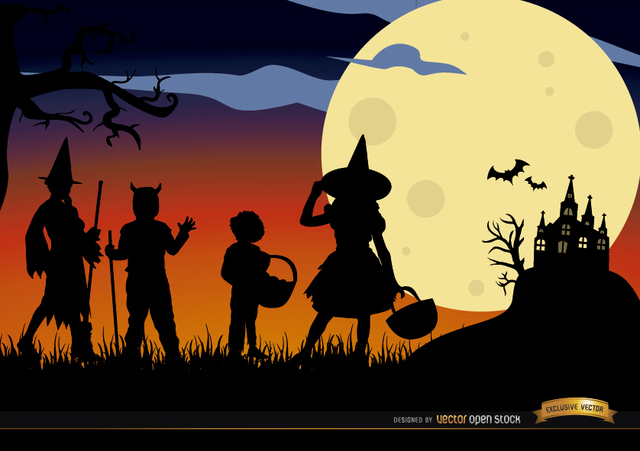 Free Vectors: Halloween children disguised silhouettes background | Vector Open Stock