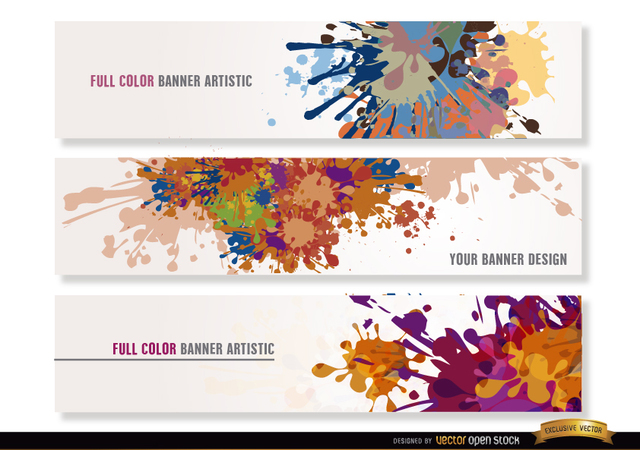 Free Colorful paint drops headers