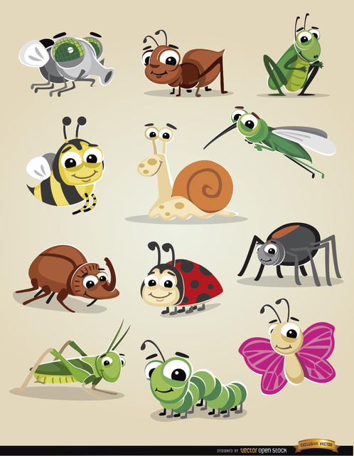 Free Cartoon bugs icon set