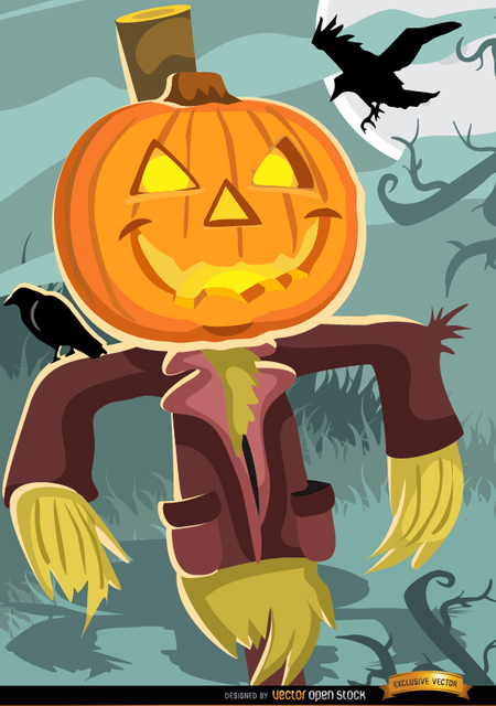 Free Halloween scarecrow pumpkin head