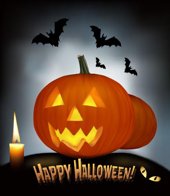 Free Creepy Pumpkin & Bats Halloween Night Background