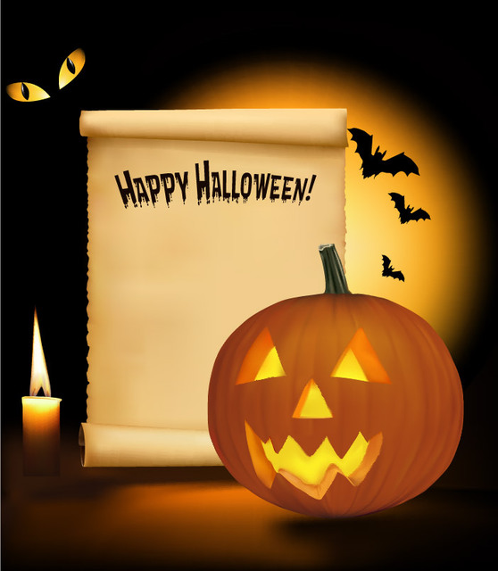 Free Creepy Halloween Design with Paper Note