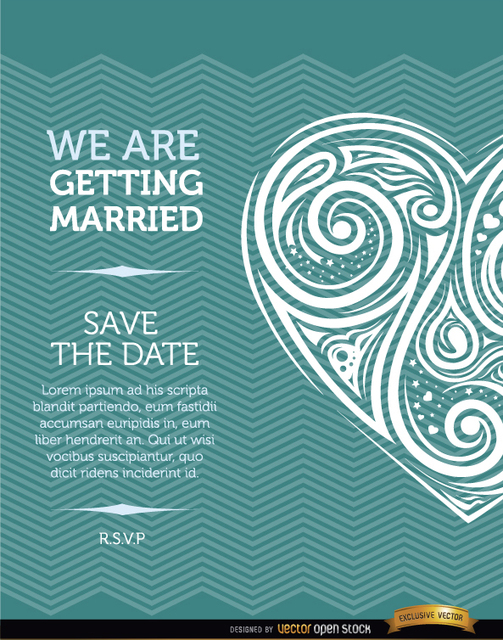 Free Artistic heart marriage invitation card