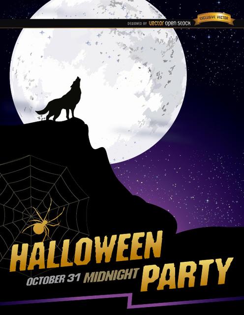 Free Wolf howl full moon Halloween poster