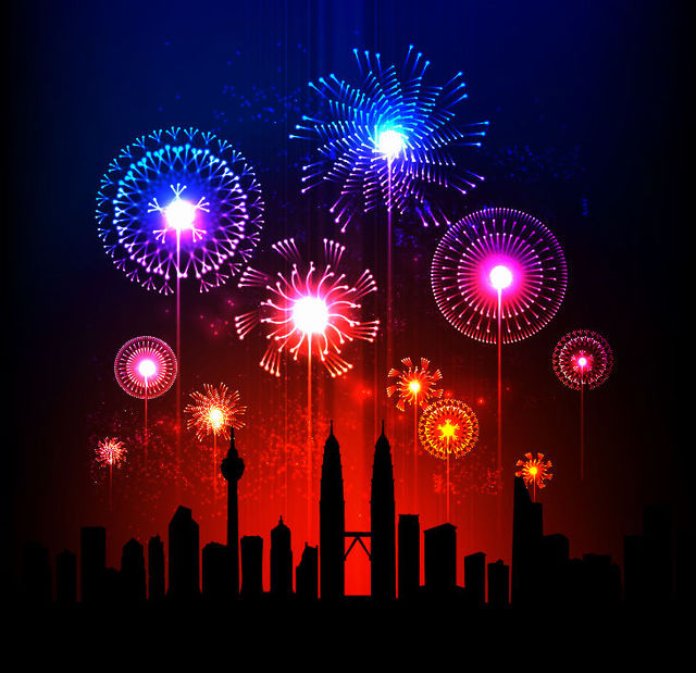 Free Glowing Firework over a City