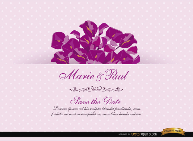 Free Pink Invitation Card with Acacia