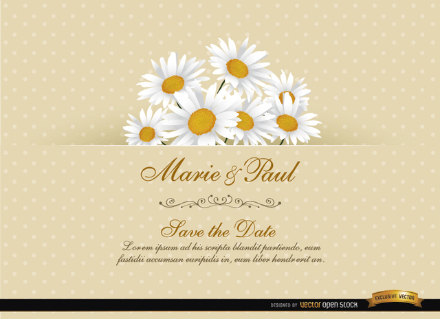 Free Daisy Floral Wedding Invitation Card