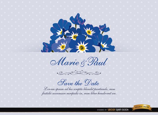 Free Myosotis Flower Wedding Invitation Card