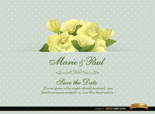 Free Gardenia Flower Wedding Invitation Card