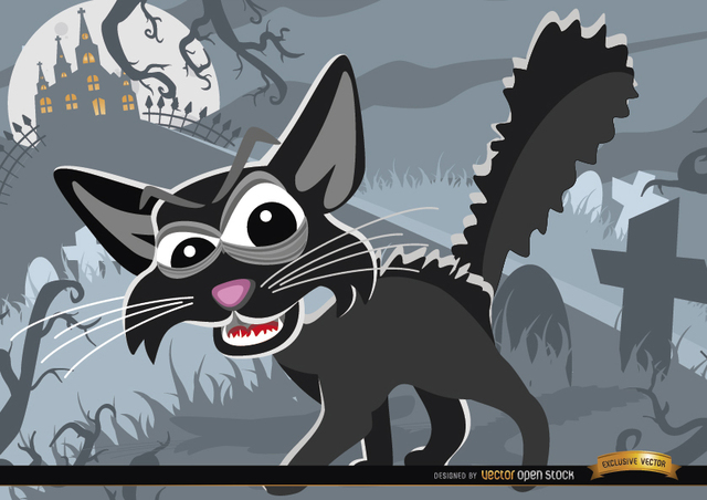 Free Creepy Cartoon Cat on Graveyard Halloween Background