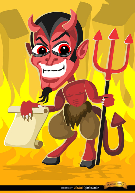 Free Creepy Halloween Evil Cartoon Holding Paper Message