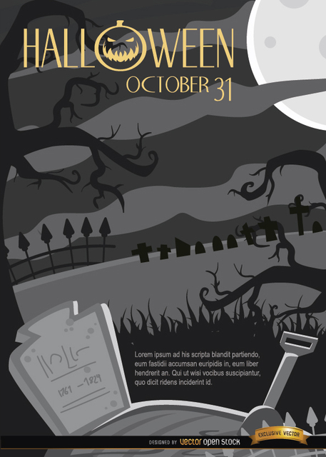 Free Creepy Halloween Night Graveyard & Crooked Trees Background