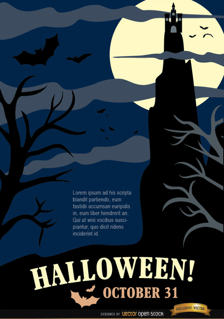 Free Halloween Night Party Poster with Hunted House & Dead Trees
