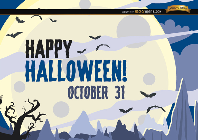 Free Hunted Halloween poster bats flying over moon