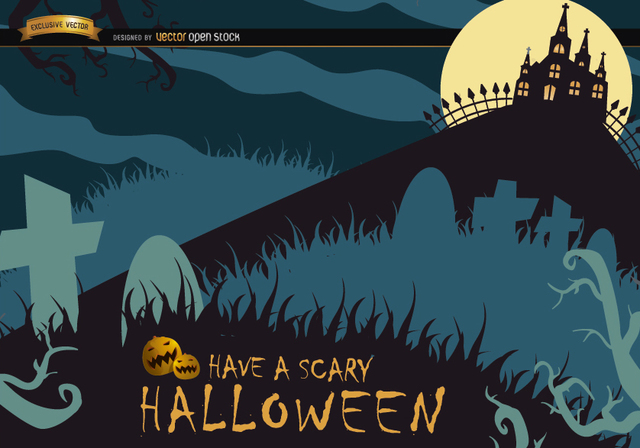 Free Scary Halloween poster with graveyard & hunted house