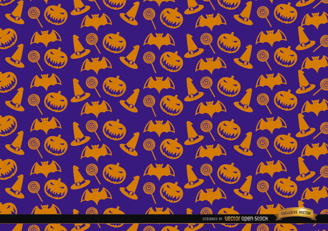 Free Vectors: Orange Halloween objects texture on purple background | Vector Open Stock