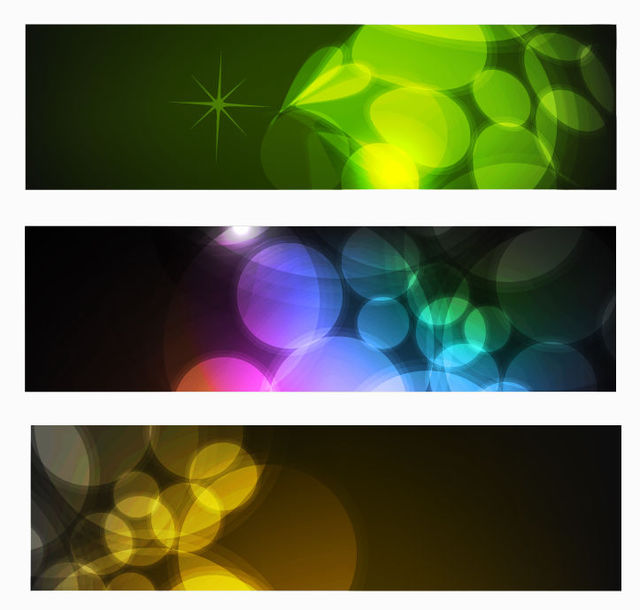 Free 3 Multicolor Banners with Glowing Bokeh Lights