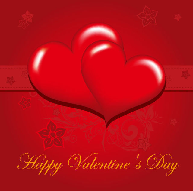 Free Glossy Red Valentine Greeting Card
