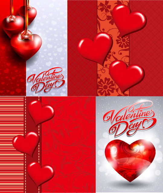 Free Abstract Glossy Hearts Valentine Card Set