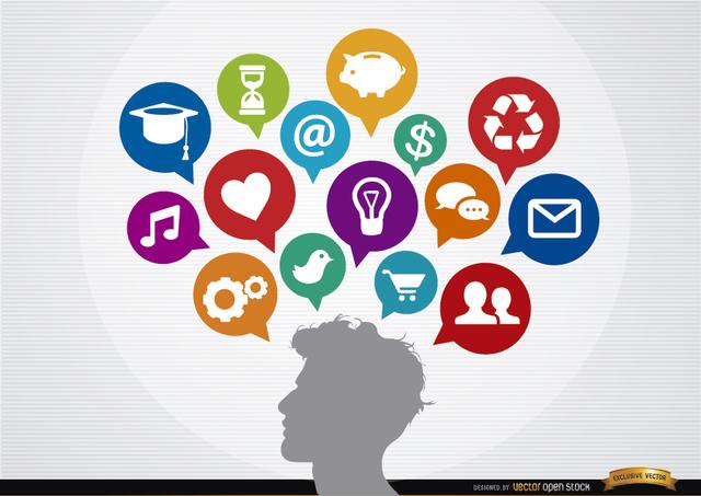Free Vectors: Infographic social clouds concept man ideas | Vector Open Stock