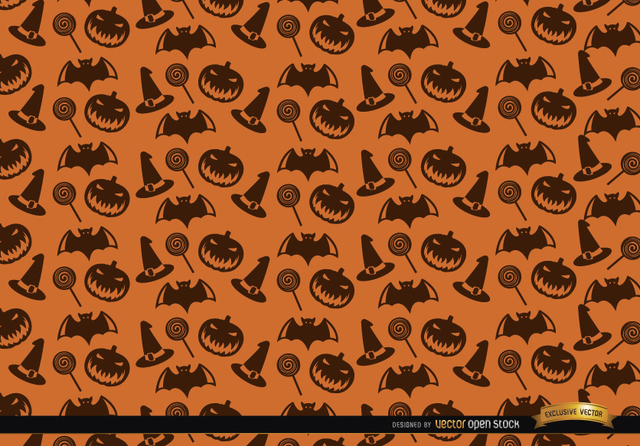 Free Halloween texture hat candy bats and creepy pumpkin background