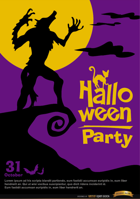 Free Howling Werewolf poster halloween promo