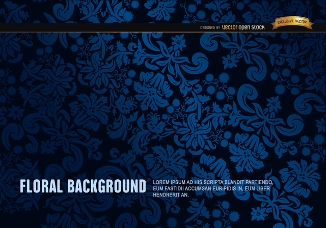 Free Blue and Black floral ornament background