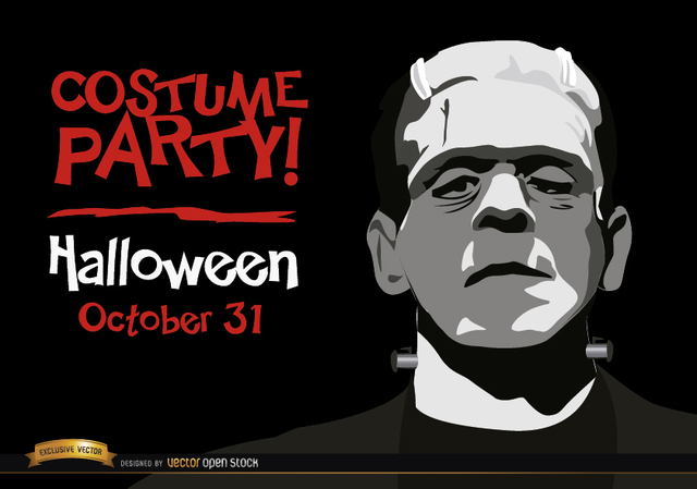 Free Halloween invitation party Frankenstein's Monster