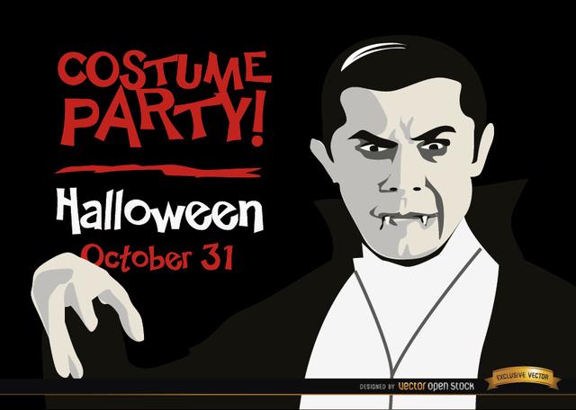 Free Halloween invitation promo Dracula vampire