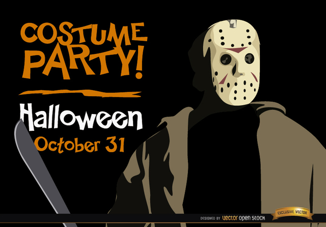 Free Halloween invitation party Jason Voorhees