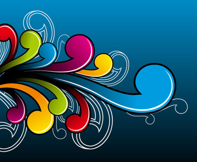 Free Vectors: Abstract Colorful Flat Simplistic Swirls | The Vector Art