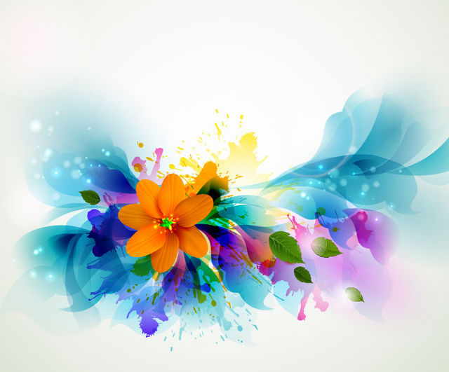 Download Vector Fluorescent Colorful Floral With Grungy