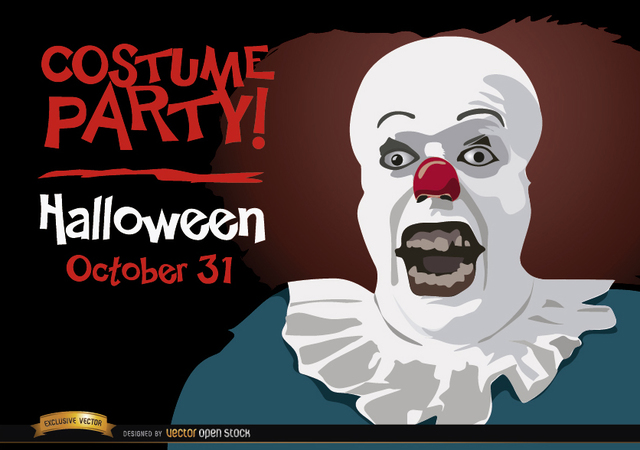 Free Halloween invitation party Pennywise clown