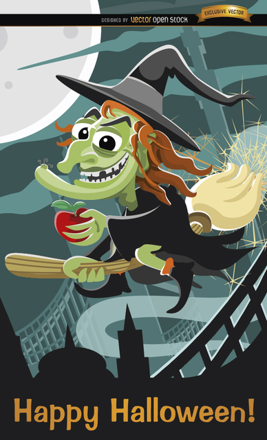 Free Evil witch flying Halloween poster