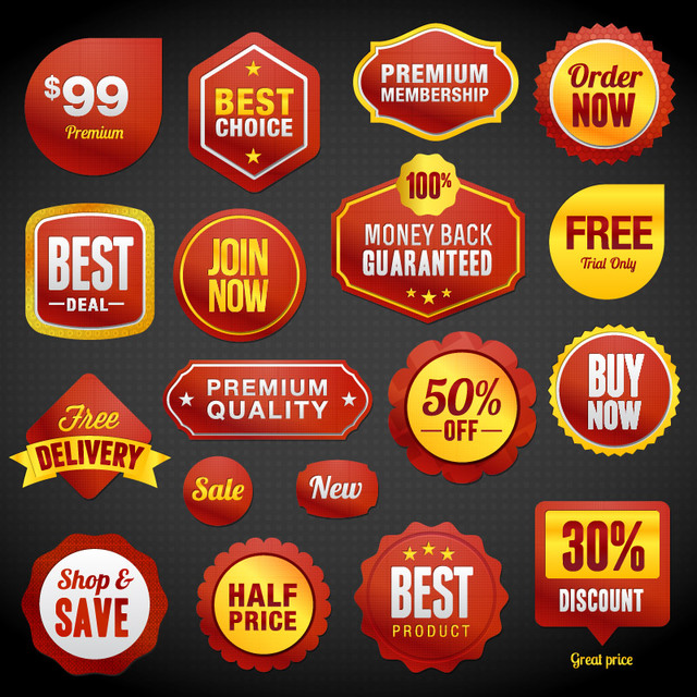 Free Glossy Promotional Sale Label Set
