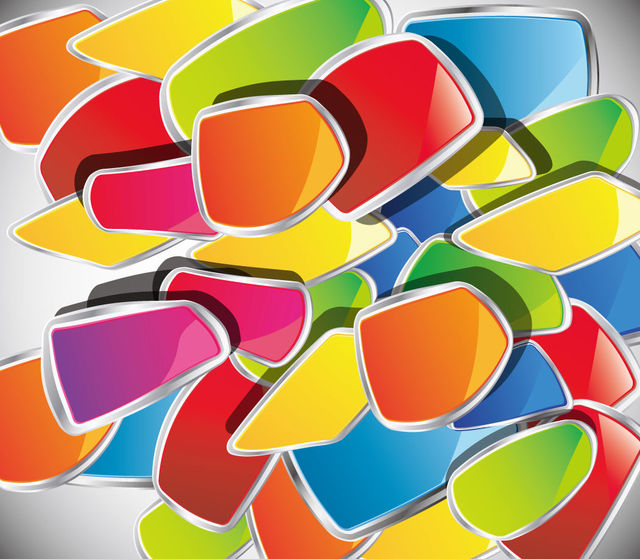 Free Piles of Colorful Glossy Abstract Disordered Shapes