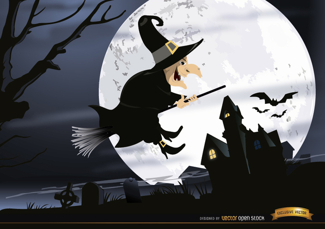 Free Halloween witch flying graveyard night wallpaper
