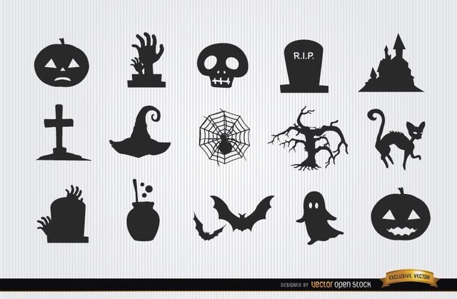 Free Halloween horror objects icon pack