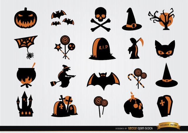 Free Halloween scary symbols icon set