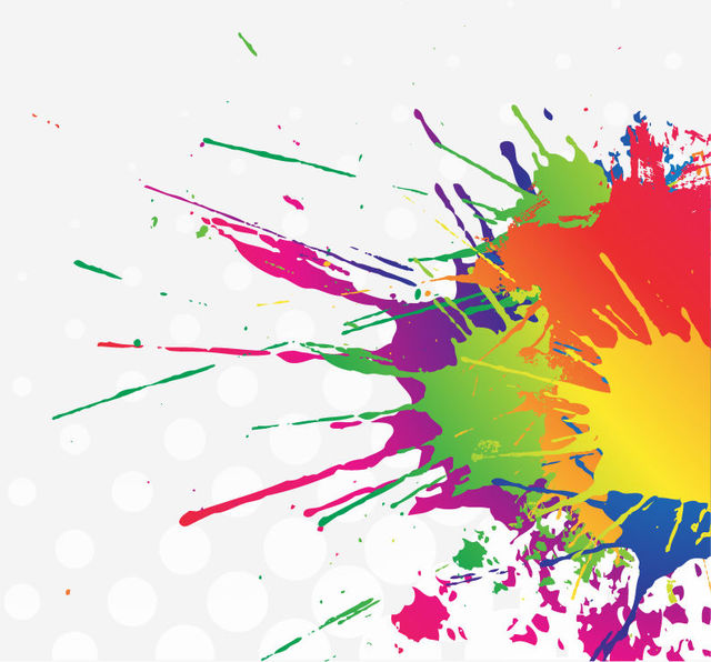Free Colorful Splatter Stain Paint with Halftone