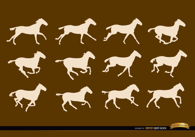 Free Horse running sequence frames silhouettes