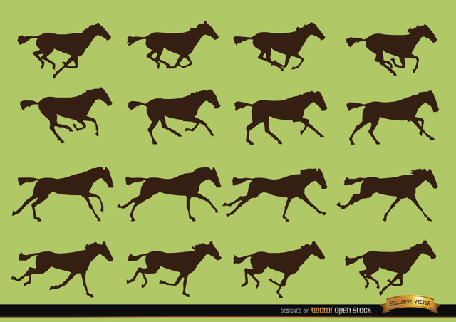Free Horse galloping motion sequence silhouettes