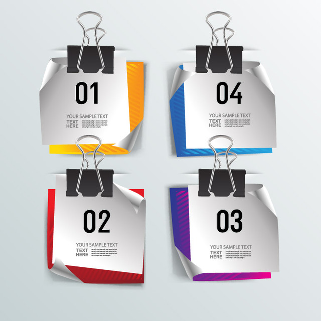 Free Digital Note Set Hanging on Paperclip