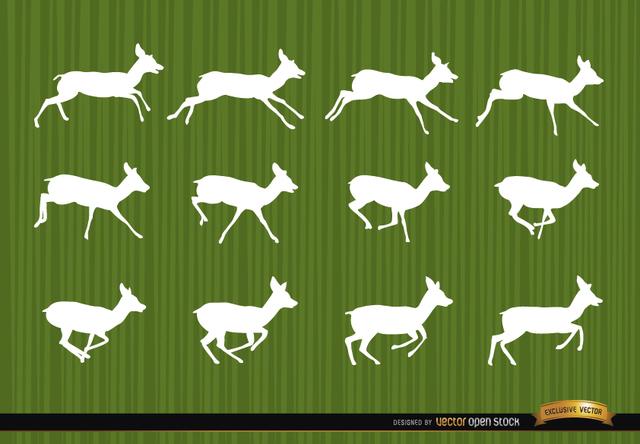 Free Deer running motion frames silhouettes