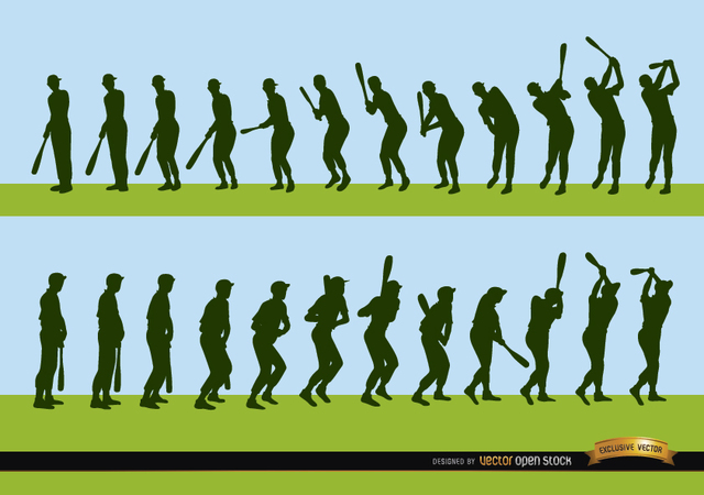 Free Sequence of baseball player batting silhouettes