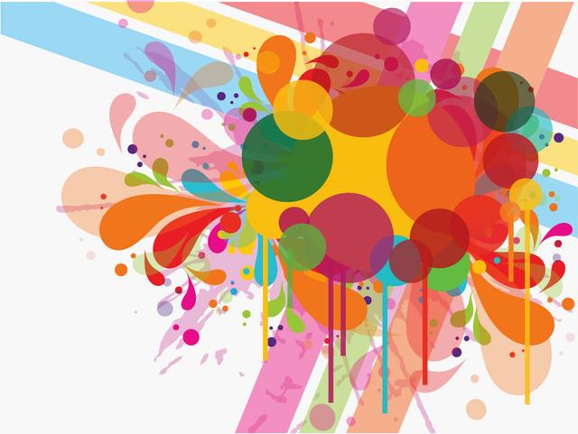Free Colorful Swirls Splash & Circles